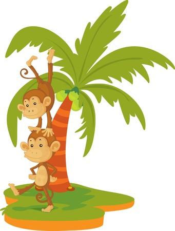 illustration of monkey dancing under the tree illustration