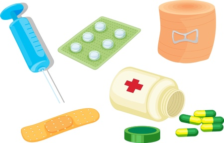 bandages: illustration of various objects on white