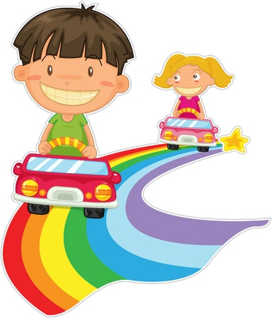 two roads: illustration of kids on white Stock Photo