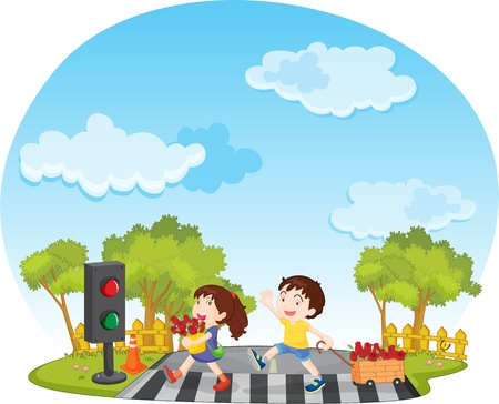 crossing street: illustration of kids on white Stock Photo