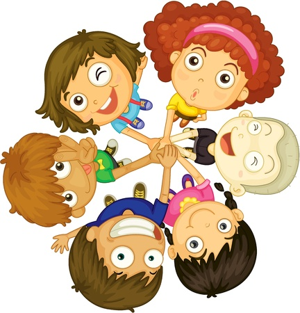 object with face: illustration of kids faces on white background