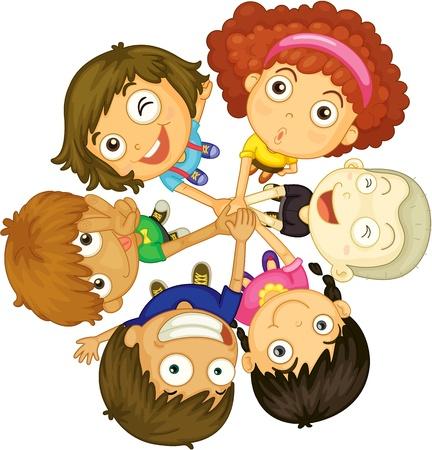 illustration of kids faces on white background illustration
