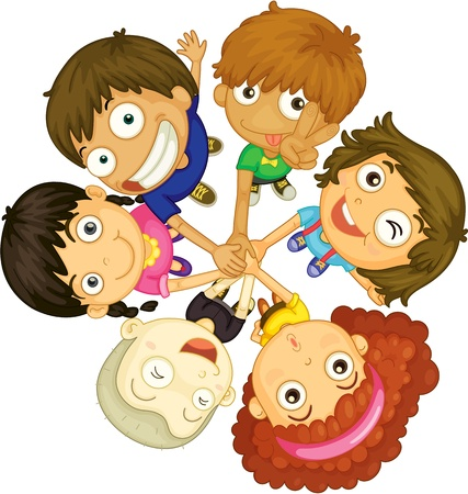 round face: illustration of kids faces on white background