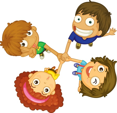 object with face: illustration of kids on a white background Stock Photo