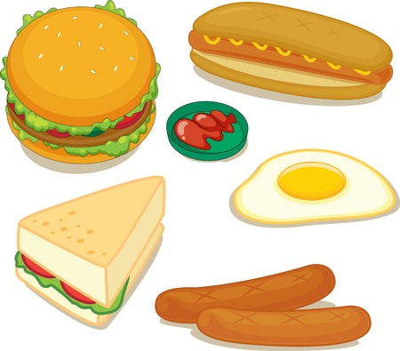 egg sandwich: illustration of various food items on a white background Stock Photo
