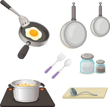 gas stove: illustration of various utensils on a white background