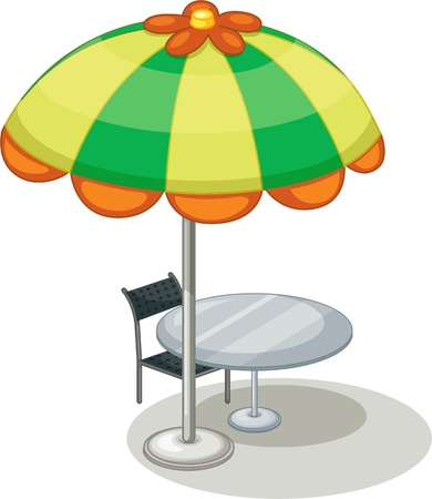 drawing table: illustration of umbrella on a white background
