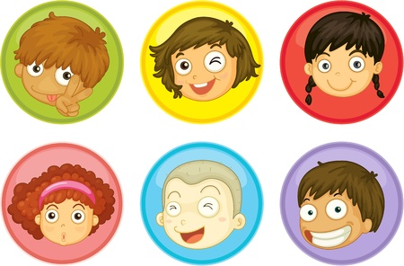 object with face: Illustration of a kids faces on a white background
