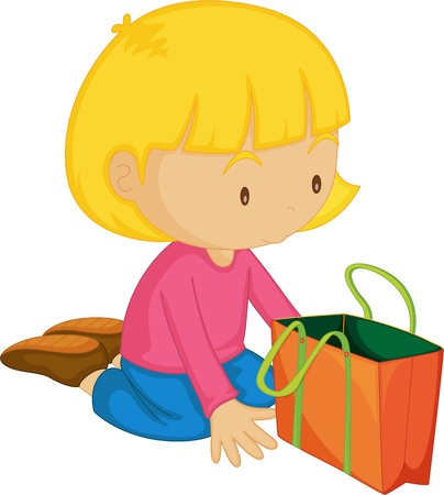 admiring: Illustration of a Girl with Bag on white background