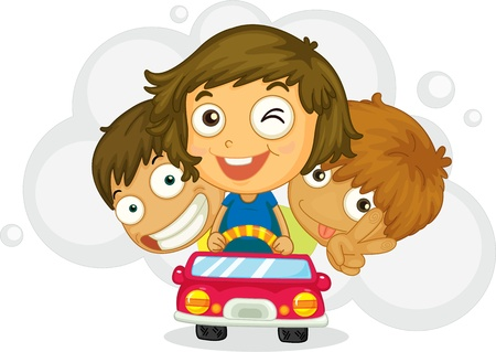 teenagers laughing: Illustration of three  kids  driving car on a white background Stock Photo