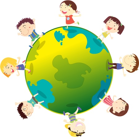 teenagers laughing: Illustration of kids playing on globe on a white background Stock Photo
