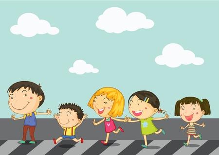 mujer hijos: Ilustraci�n de los ni�os en camino de paso de cebra