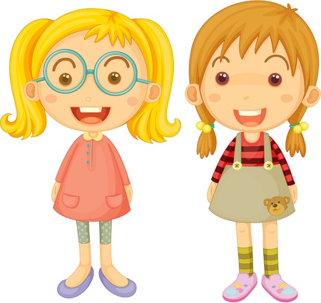 teenagers laughing: Illustration of two girls on a white background