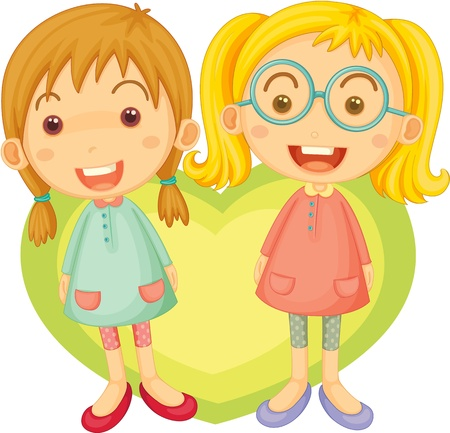 young girl: Illustration of two singing girls on white background Stock Photo