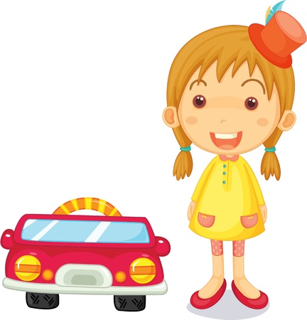 admiring: Illustration of a girl standing next to car on white background