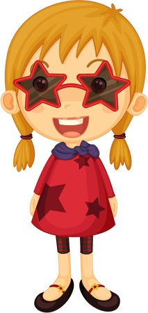 admiring: Illustration of a girl with star shaped sun glasses on white background