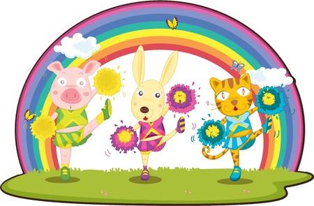 tanzen cartoon: Illustration of Animals Dancing in einem Rasen auf weißem Hintergrund