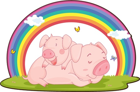 admiring: Illustration of Two Pigs on white background