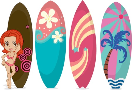 floats: Illustration of A Girl with Surfing Pads on white background