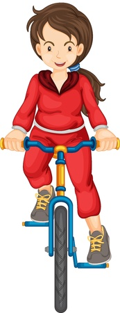 training wheels: Illustration of a fit woman