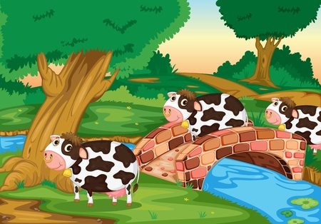 cow bells: Illustration of cows coming home