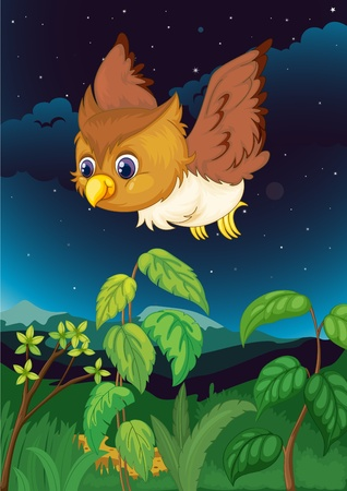 forest cartoon: Illustration of an owl at night Stock Photo