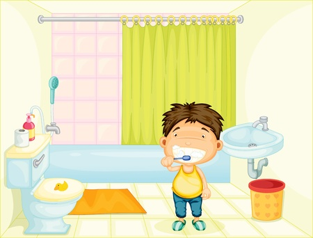 Boy brushing his teeth at home photo