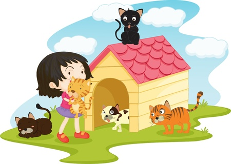 house cat: Girl with all of her cats
