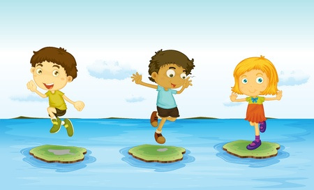 Illustration of 3 kids on the water illustration