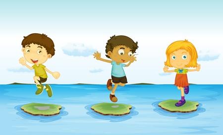 Illustration of 3 kids on the water illustration