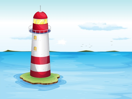 illustration of lighthouse on the water illustration