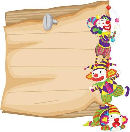 Illustration of clowns in front of paper illustration