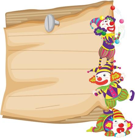 payaso: Ilustración de los payasos en la parte frontal del papel