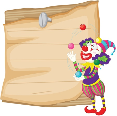 Illustration of a clown in front of paper illustration