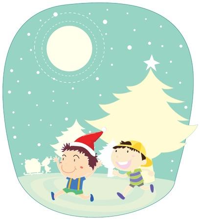 Illustration of kids playing at christmas Stock Illustration - 13109742