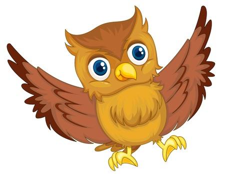 illustration of an isolated owl cartoon illustration