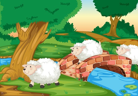 3 sheepcrossing a bridge Stock Photo - 13109814