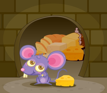 Illustration of a funny mouse with cheese illustration