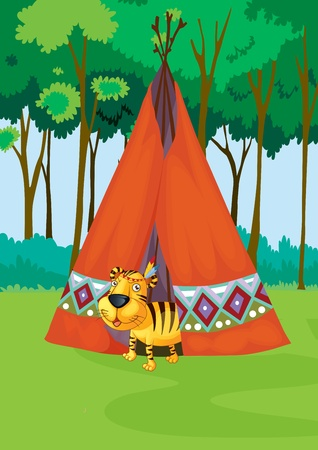 tiger coming out of a tent Stock Photo