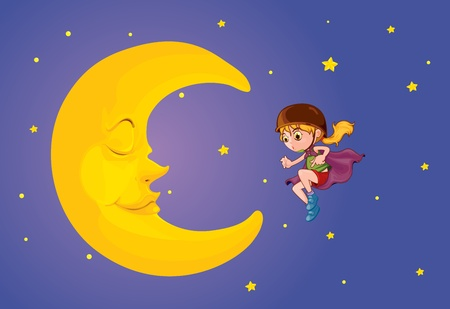 moon stars: Illustration of girl and moon