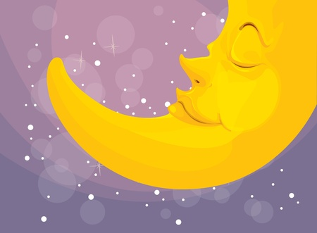 star and crescent: Illustration of a sleeping moon