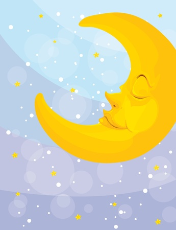 Illustration of a sleeping moon illustration
