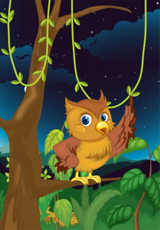 Illustration of an owl at night illustration