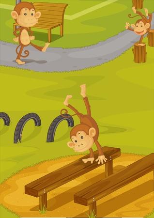 Illustration of  a cartoon monkey on white Stock Illustration - 13114908