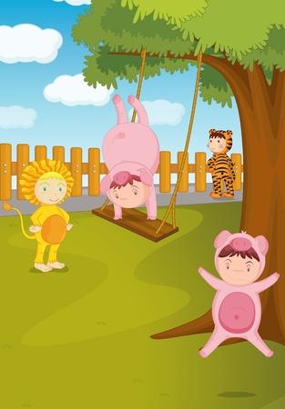 Illustration of  a kids with animal dress illustration