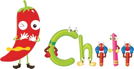 i kids: illustration of a alphabets on white