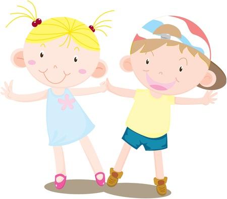 illustration of a girl and boy on white Illustration