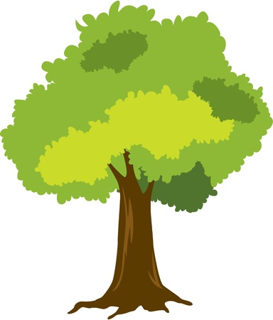 one colour: illustration of tree on white Illustration