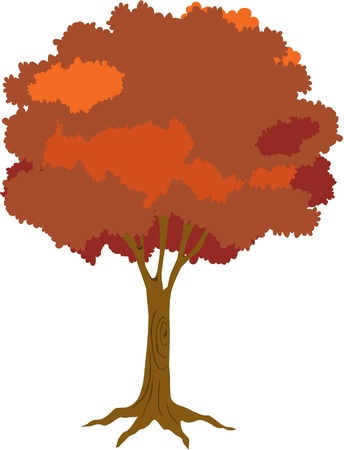 perennial: illustration of tree on white Illustration