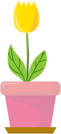 illustration of plant and pot on white Vector
